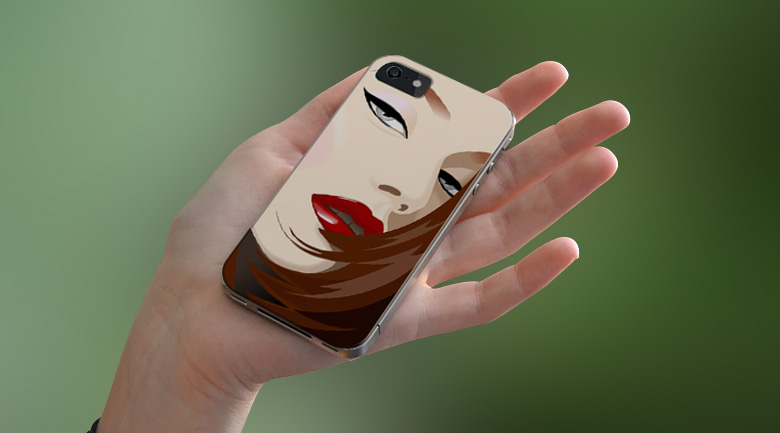 hand holding iPhone case with vector girl face illustration
